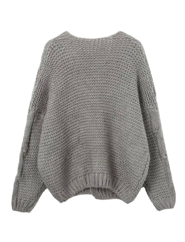Goodnight Macaroon 'Zahara' Cable Knit Open Cardigan Gray Back