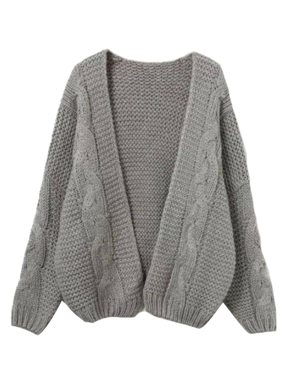 Goodnight Macaroon 'Zahara' Cable Knit Open Cardigan Gray Front