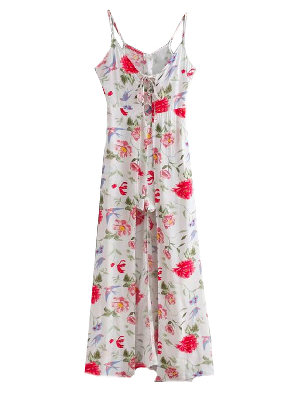 Goodnight Macaroon 'Terra' Floral Romper Maxi Dress Front