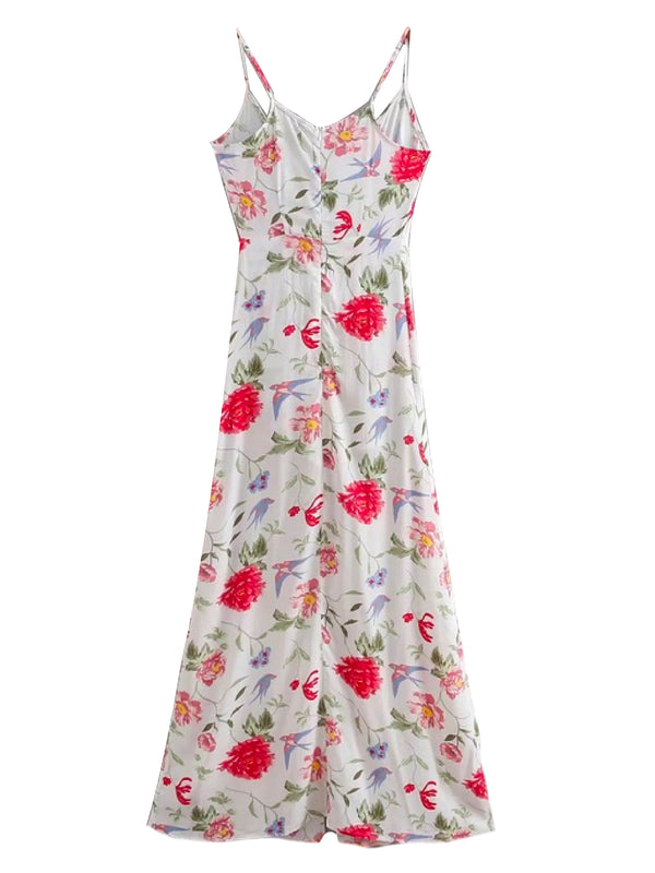 Goodnight Macaroon 'Terra' Floral Romper Maxi Dress Back
