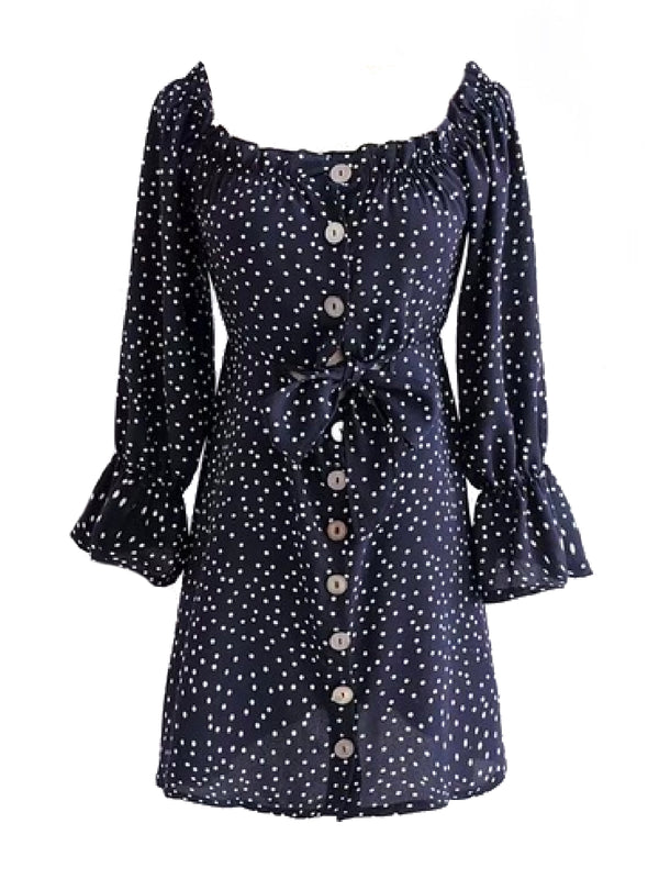 Goodnight Macaroon 'Cadence' Dotted Print Button Front Midi Dress Front