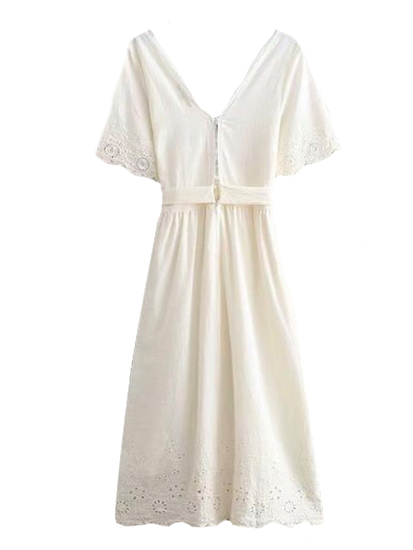 Goodnight Macaroon 'Nicky' Lace Crochet Short Sleeves Tied Maxi Dress Back