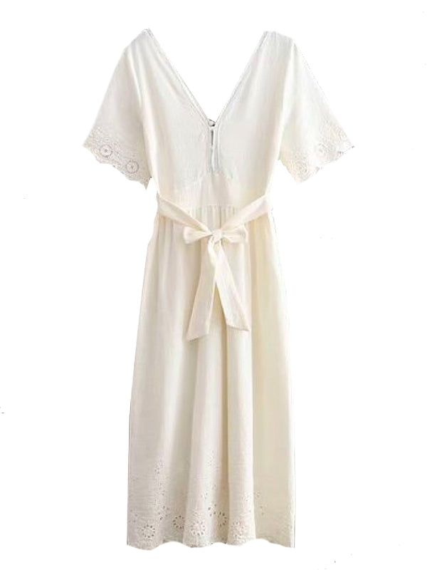Goodnight Macaroon 'Nicky' Lace Crochet Short Sleeves Tied Maxi Dress Front