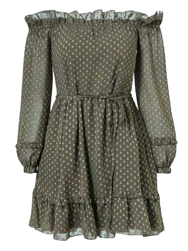 Goodnight Macaroon 'Fiona' Dotted Off The Shoulder Frilled Romper Green Front