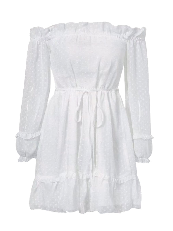 Goodnight Macaroon 'Fiona' Dotted Off The Shoulder Frilled Romper White Front