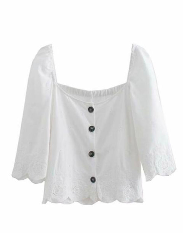 Goodnight Macaroon 'Franci' Broderie Anglaise Button-Front Top Front