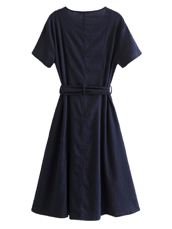 Goodnight Macaroon 'Gamila' Navy Button Down Tied Midi Dress Back