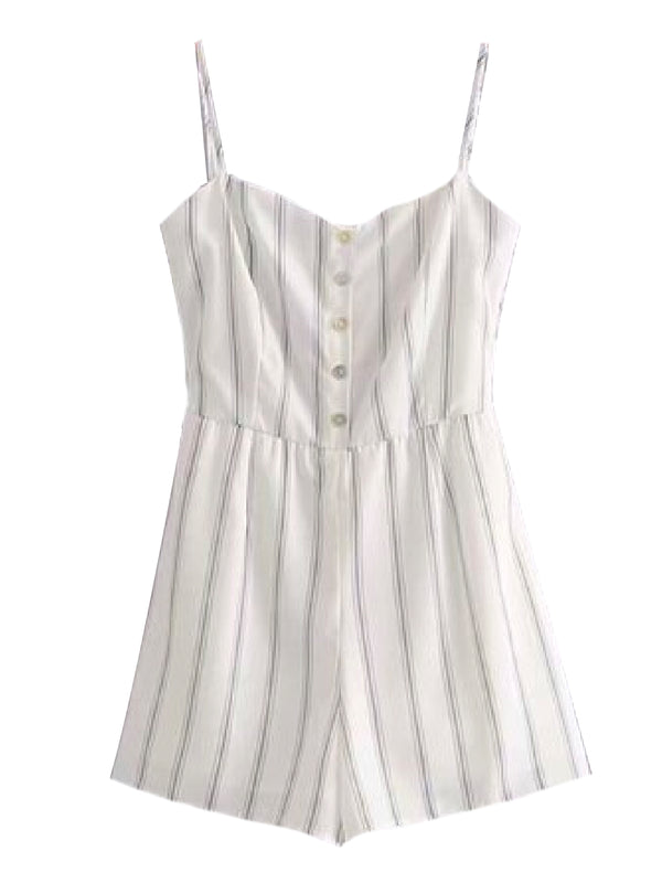 Goodnight Macaroon 'Naeva' Striped Button-Front Back-Tied Romper Front