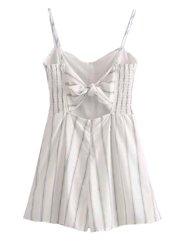 Goodnight Macaroon 'Naeva' Striped Button-Front Back-Tied Romper Back