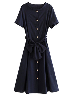 Goodnight Macaroon 'Gamila' Navy Button Down Tied Midi Dress Front