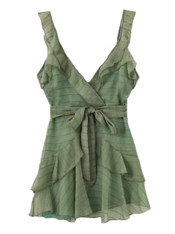 Goodnight Macaroon 'Rosa' Frilled Waist Tied Wrap Mini Dress Green Front