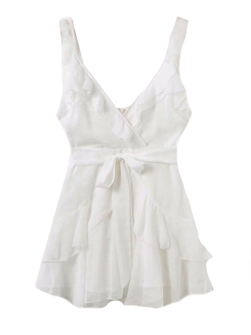 Goodnight Macaroon 'Rosa' Frilled Waist Tied Wrap Mini Dress White Front