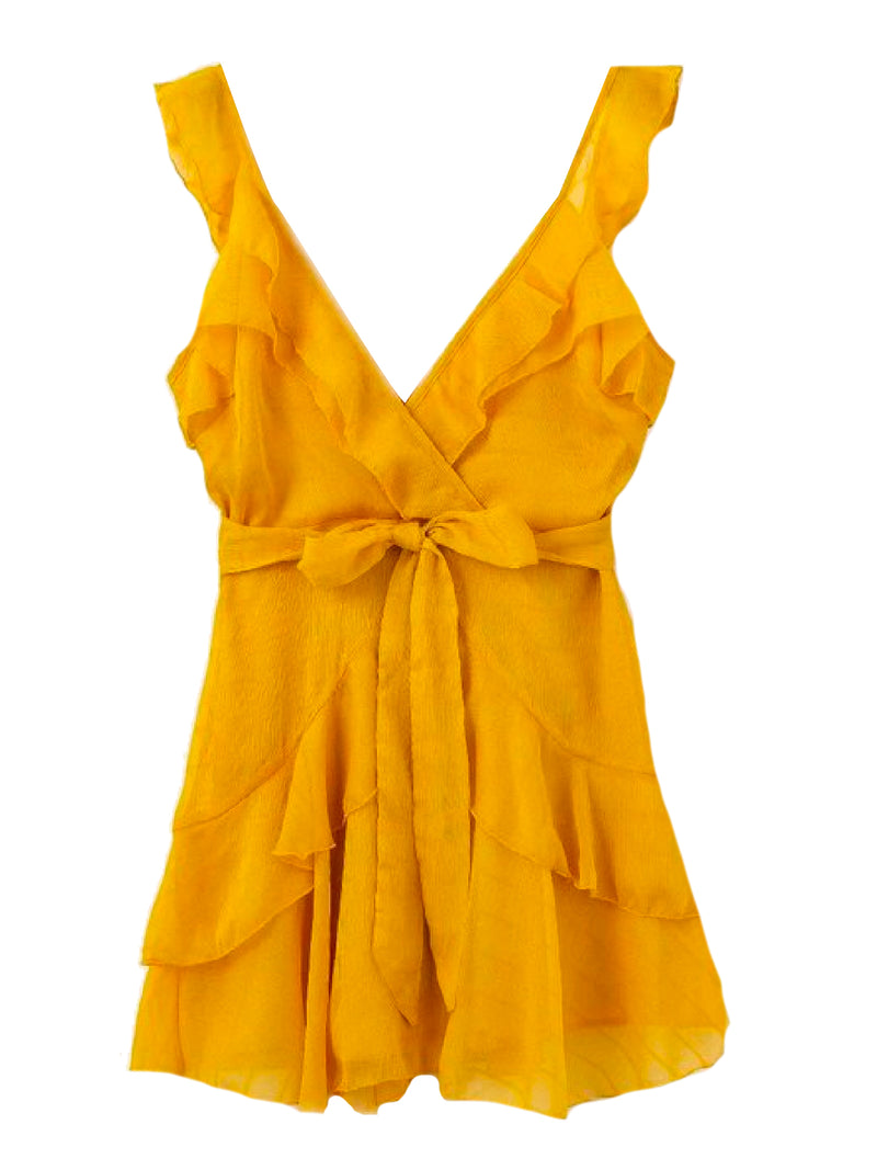 Goodnight Macaroon 'Rosa' Frilled Waist Tied Wrap Mini Dress Yellow Front