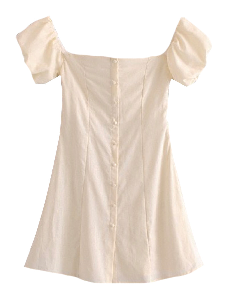 Goodnight Macaroon 'Tabitha' Linen Babydoll Mini Dress White Front