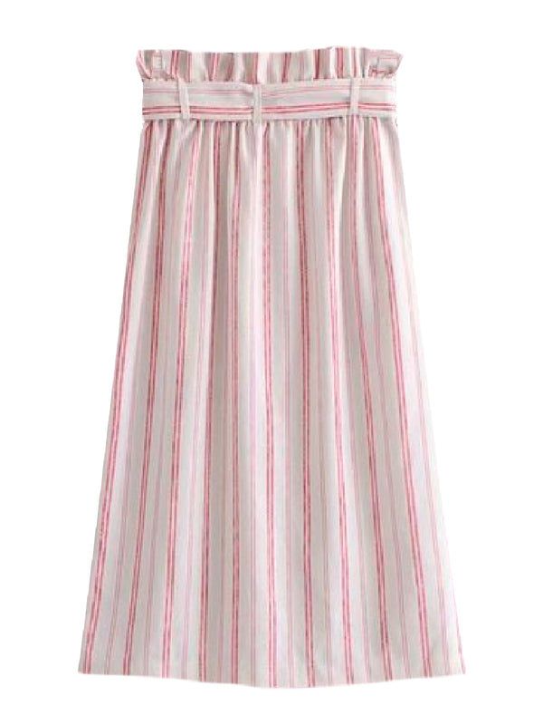 Goodnight Macaroon 'Caris' Red Striped Tied Paper Bag Skirt Back