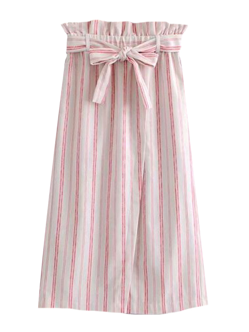 Goodnight Macaroon 'Caris' Red Striped Tied Paper Bag Skirt Front