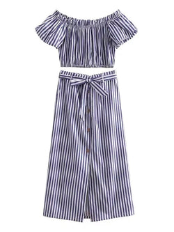 Goodnight Macaroon 'Deloise' Striped Off The Shoulder Midi Skirt Two Piece Set Blue Front