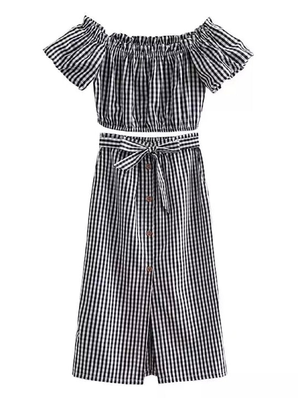 Goodnight Macaroon 'Devia' Striped Off The Shoulder Midi Skirt Two Piece Set Black Gingham Front