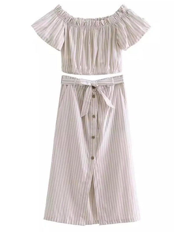 Goodnight Macaroon 'Daphne' Striped Off The Shoulder Midi Skirt Two Piece Set Cream White Front