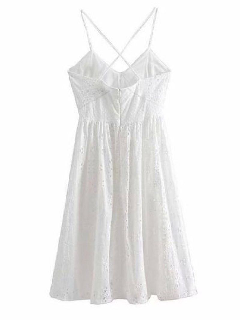 Goodnight Macaroon 'Ida' Broderie Anglaise Crossed Back Midi Dress Back