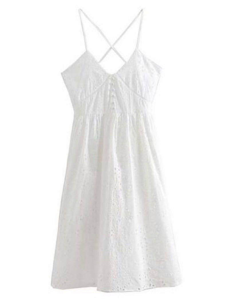 Goodnight Macaroon 'Ida' Broderie Anglaise Crossed Back Midi Dress Front