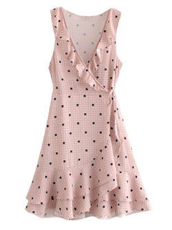 Goodnight Macaroon 'Wailoa' Polka Dot Gingham Wrap Midi Dress Front