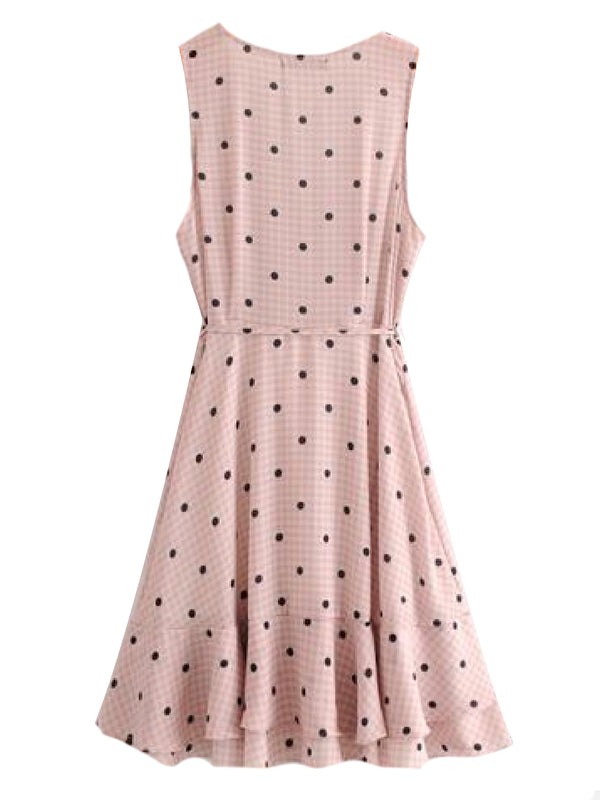 Goodnight Macaroon 'Wailoa' Polka Dot Gingham Wrap Midi Dress Back