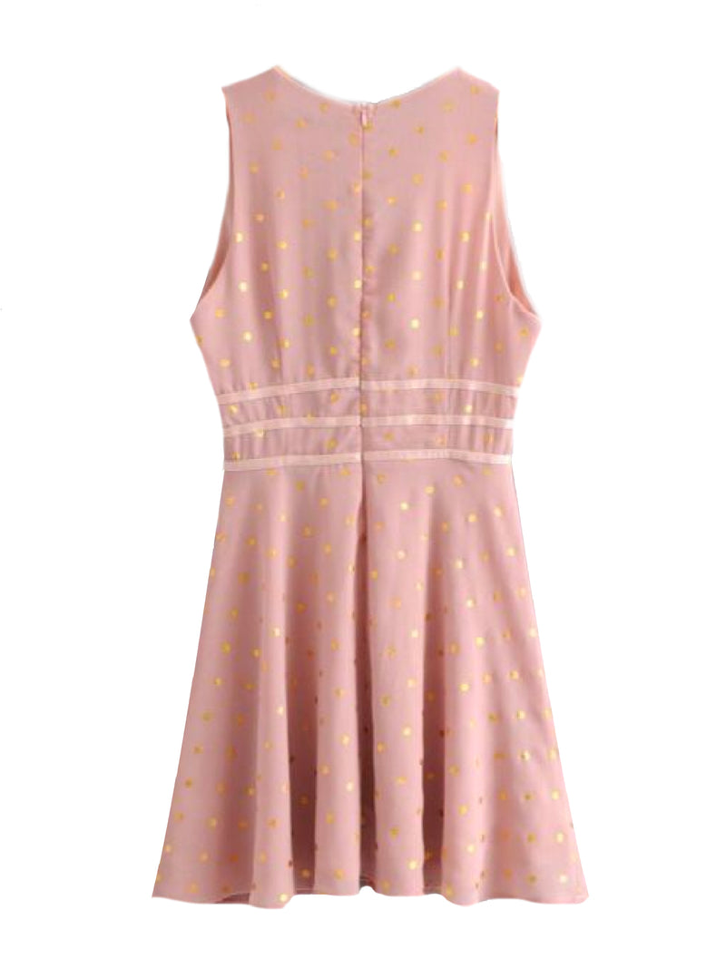 Goodnight Macaroon 'Hertha' Gold Foil Polka Dot Pink Mini Dress Back
