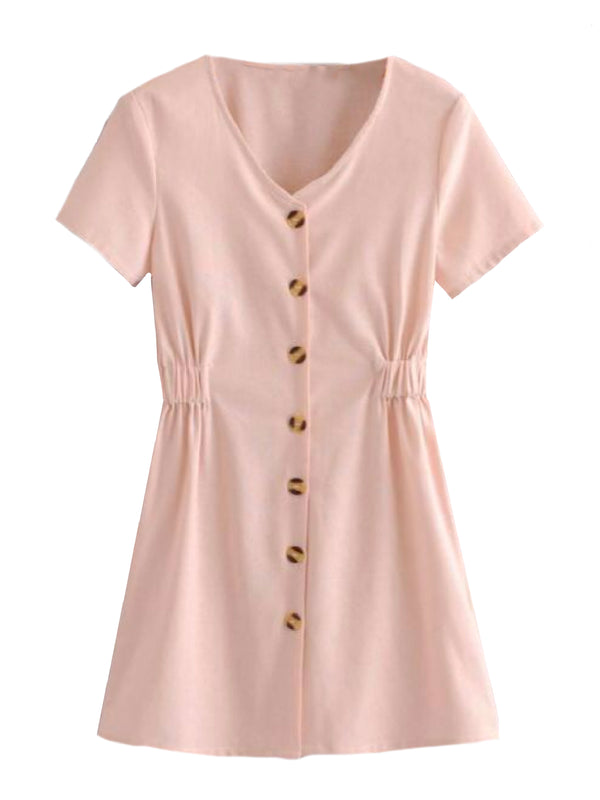 28062c30b20 ... Goodnight Macaroon  Whitley  Pink Button Front Side Tied Mini Dress  Front ·