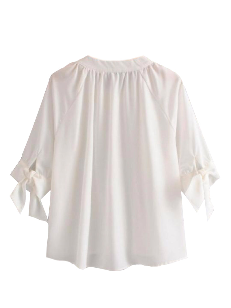 Goodnight Macaroon 'Mayan' Button Front Tied Sleeve Blouse Back
