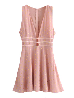 Goodnight Macaroon 'Hertha' Gold Foil Polka Dot Pink Mini Dress Front