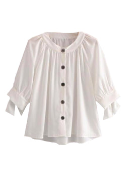 Goodnight Macaroon 'Mayan' Button Front Tied Sleeve Blouse Front