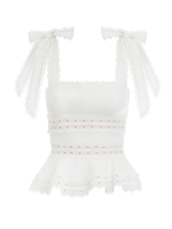 'Joey' Tied Strap Lace Crochet Top