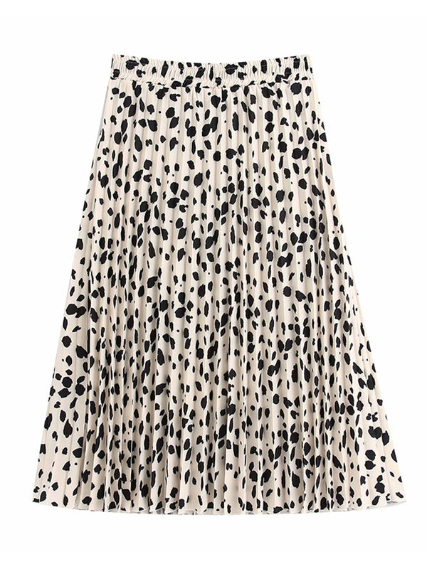'Doyle' Leopard Print Pleated Midi Skirt