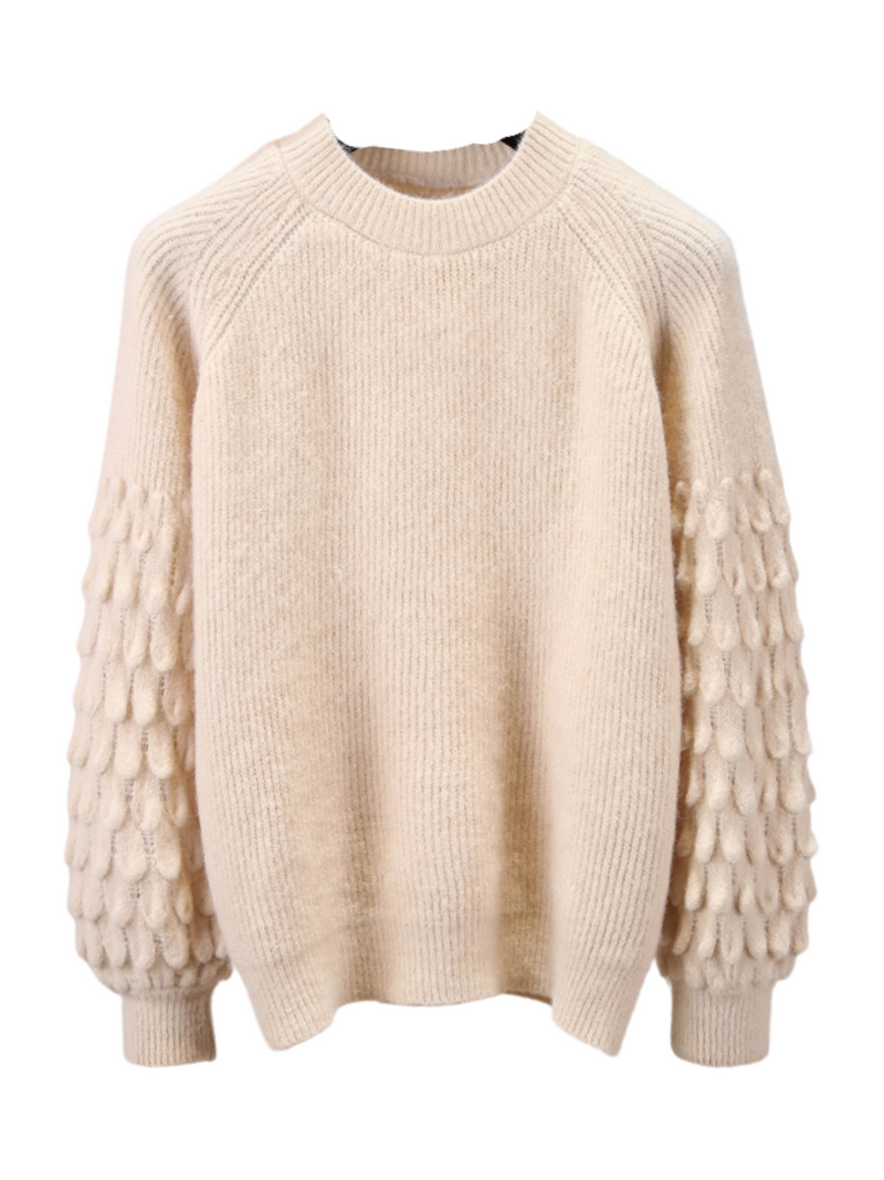 'Kim' Detailed Balloon Sleeves Sweater(3 Colors)