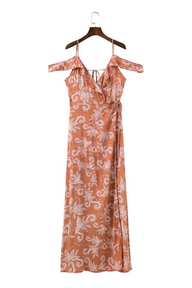 'Alice' Paisley Printed Chiffon Maxi Wrap Dress by Champagne & Chanel
