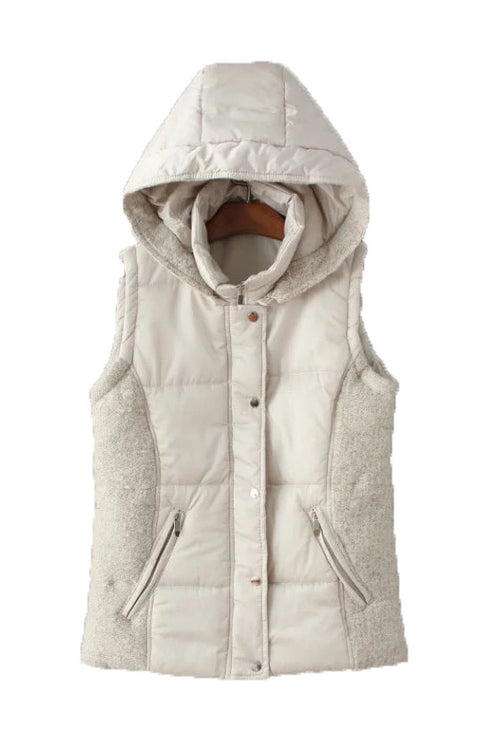 'Vera' Hooded Puffer Vest White Front from Goodnight Macaroon