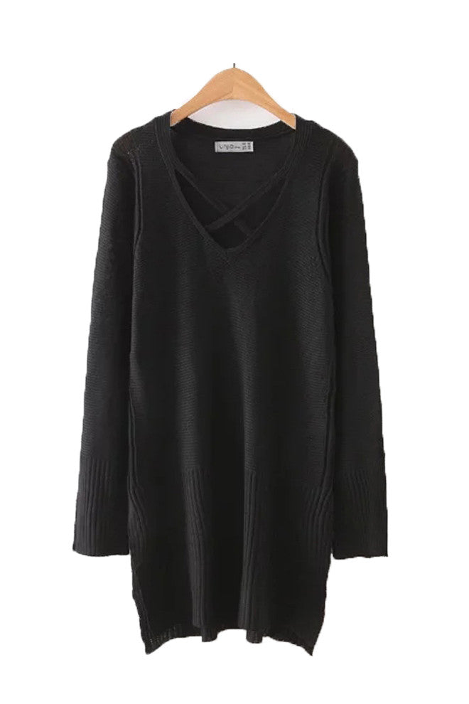 'Iris' Black Criss Cross Tunic Sweater
