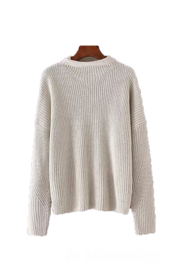 'Lily' High-neck Oat & Black Sweater - Goodnight Macaroon