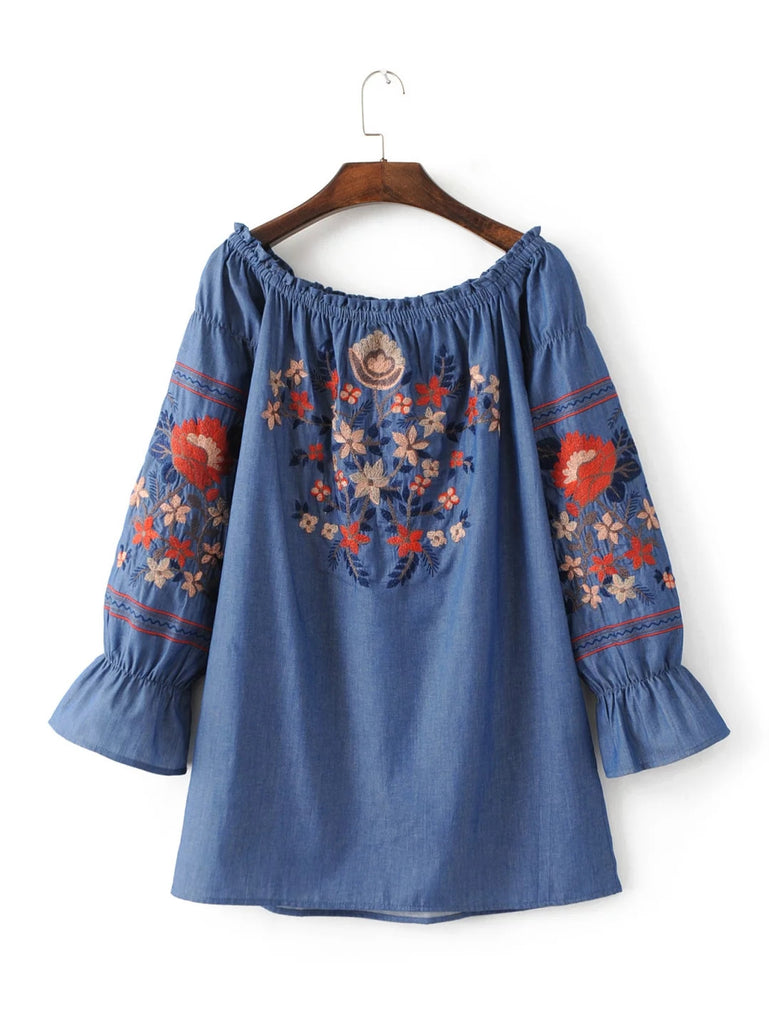 'Marissa' Off the shoulder Chambray Floral Embroidered Dress