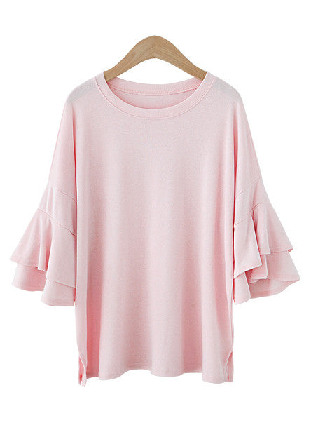 Pale Pink Blush Flare Sleeve Tee Sporty Chic