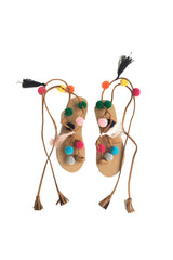Pom Pom Suede Leather Lace Up Sandals - Goodnight Macaroon