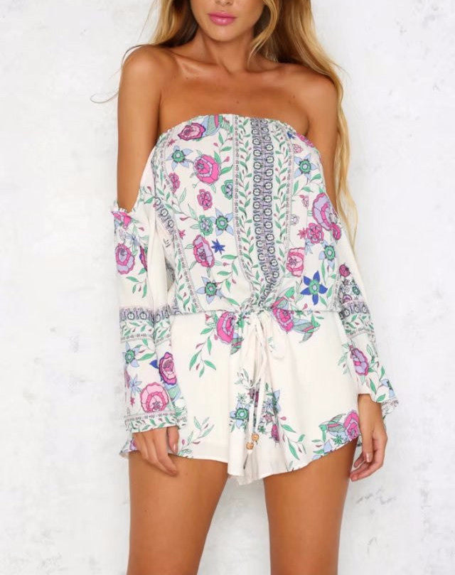 'Nenita' Purple Print Floral Off Shoulder Romper