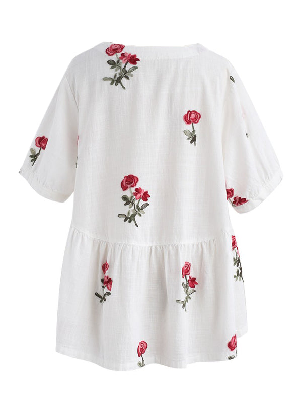 'Fiona' Floral Embroidered Peplum Top