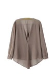 'Christy' Taupe Roll Sleeve Tab Blouse