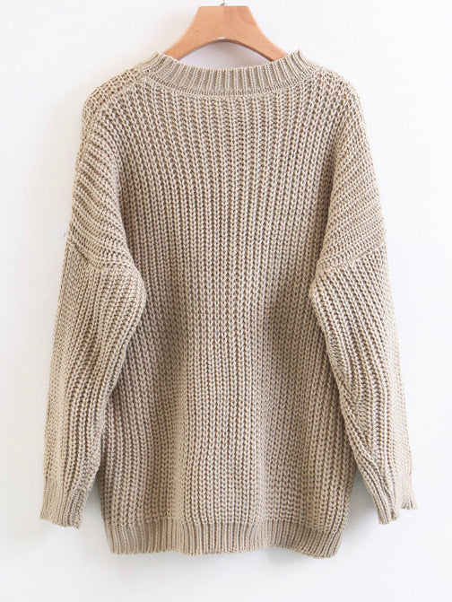 'Martha' Beige Crewneck Chunky Knit Sweater