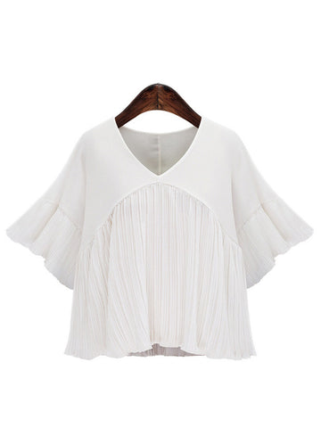'Rivington' Pleated Chiffon Flare Sleeve Blouse