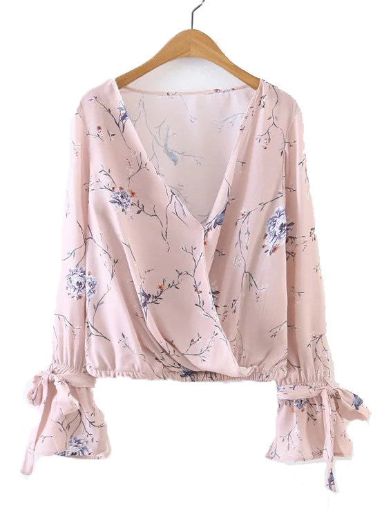 'Tiff' Pink Floral Wrap Crop Top