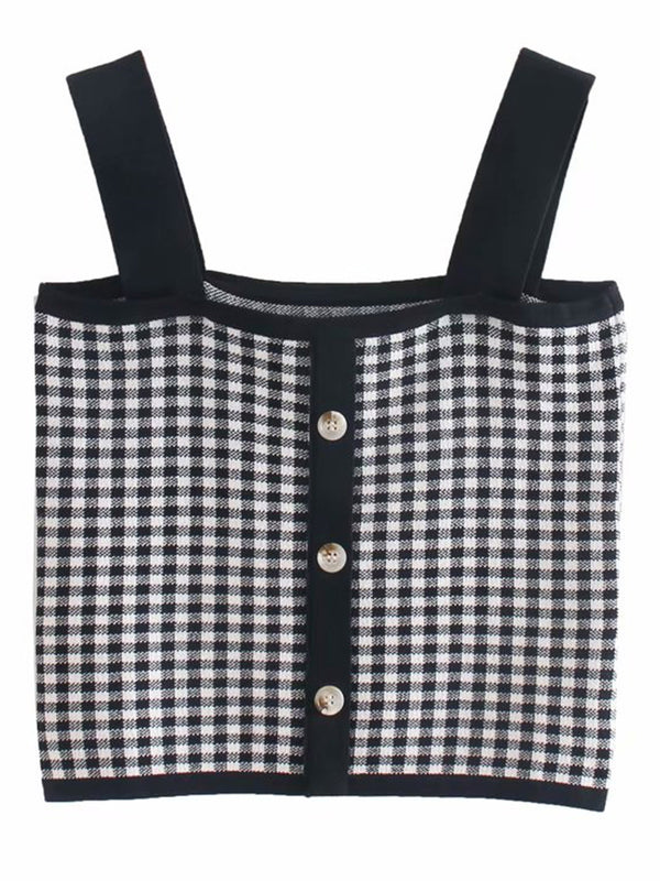'Candace' Gingham Knitted Top with Buttons