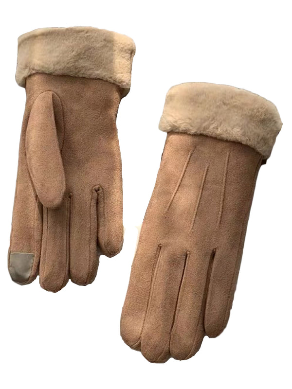 'Magnolia' Faux Fur Suede Gloves with Smart Touch (5 Colors)